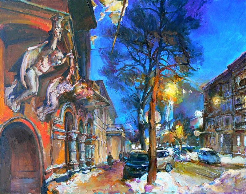 """Yaroslavov Val street"" cityscape paintings"