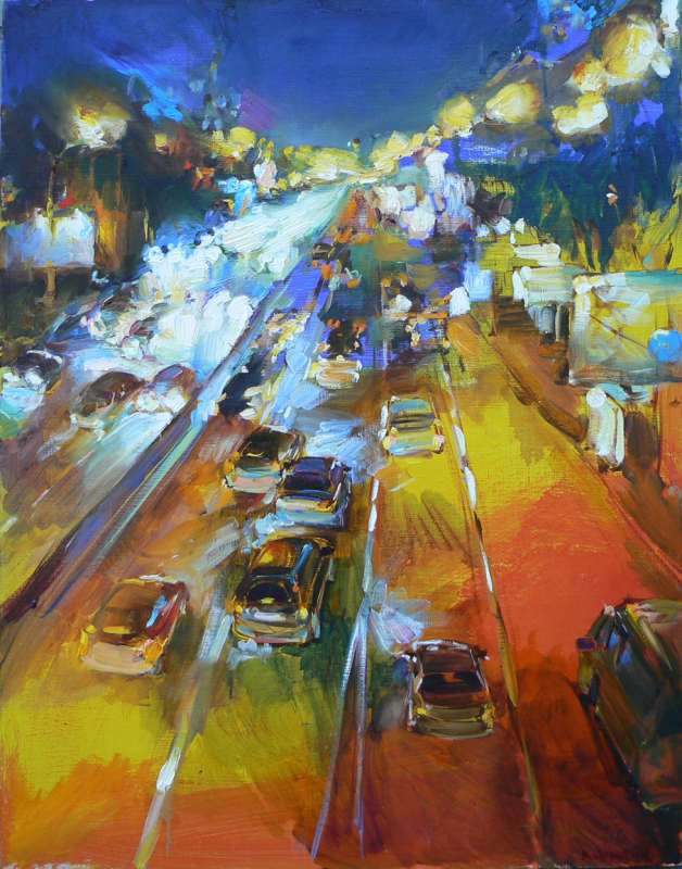 """City night""  urban painting, impression art"