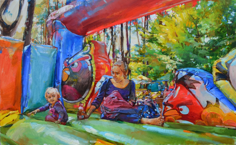 """ Playground"" landscape with child, buy oil painting"