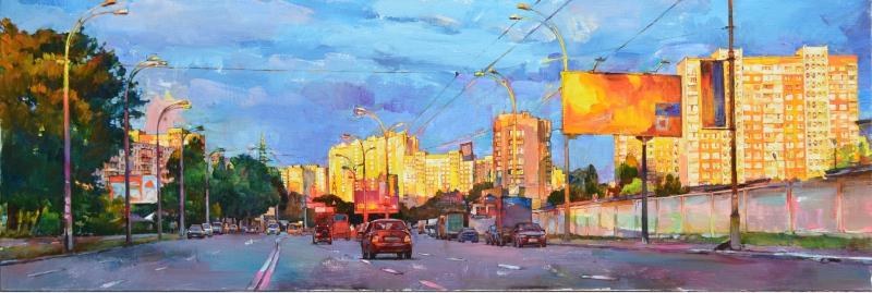 """Sunset in the city"" buy oil painting"