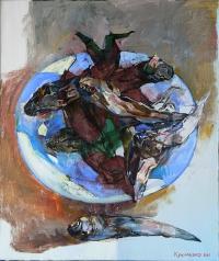 Картины маслом: натюрморт с рыбой «Бычки»