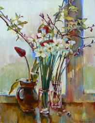 Картина маслом: цветы в вазе «Нарциссы»