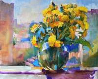 Картины маслом: цветы «Одуванчики»