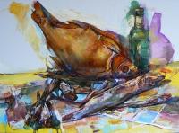 Картина-натюрморт «Вяленая рыба» - картины маслом