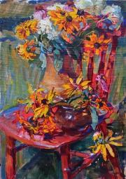 желтые цветы картина