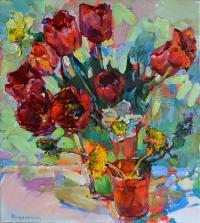Тюльпаны в вазе,живопись маслом