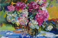 Розовые пионы, картина маслом