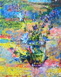 синие цветы на солнце,картина маслом