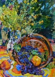 Виноград и полевые цветы,картина маслом