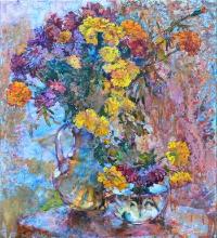 Хризантемы на фоне окна, живопись