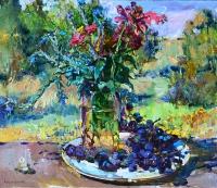 Осенний  натюрморт с виноградом, современная картина маслом