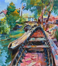 Лодки,Вилково- картина маслом
