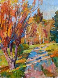 Осень- природа маслянными красками