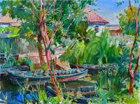 Вилково- ерик с лодками, картина маслом