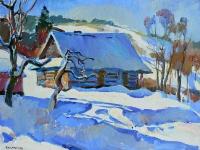Сельский пейзаж «Зима» - купить картину маслом