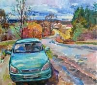 Картина маслом украинского художника - Дорога