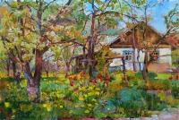 Весенний сад - картина маслом
