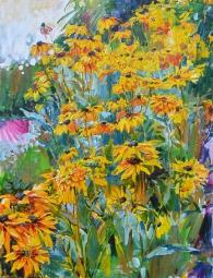 картина маслом -цветы в саду