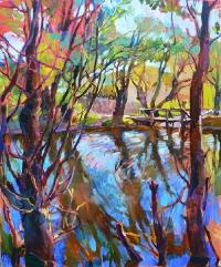 Пейзаж маслом с изображением весны «Разлив» - заказать картину