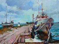 Картина с кораблем «У причала» - купить картины маслом
