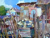 Пейзаж украинского села «Сельский двор» - картина маслом