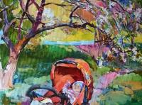 Картина с ребенком «В саду» - современная живопись