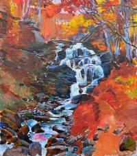 Водопад, Карпаты - современная картина маслом