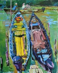 Картина Лодки,купить живопись маслом