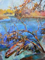Весенний пейзаж «На речке» - купить, заказать пейзаж