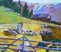 Картина села «Пейзаж с овечками» - купить или заказать картину