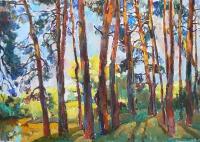 Пейзаж с озером «Закат в лесу» - картина маслом