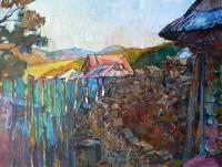 Пейзаж, село «Двор в Закарпатье» - картина маслом, купить