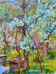Цветущий сад,живопись маслом