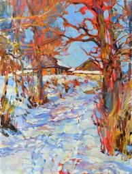 Зима,купить пейзаж маслом