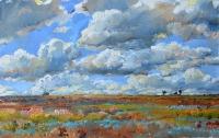 картина степной пейзаж,облака