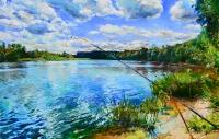 На рыбалке.картина маслом