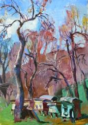 Весна в деревне,пейзаж маслом