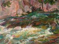 горная речка,картины маслом пейзажи