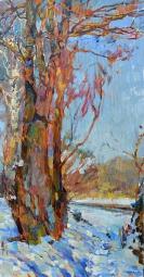 Зимний пейзаж, картина маслом