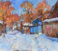 Село зимой, картина маслом
