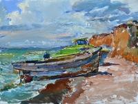 Барккасы на море.картина маслом