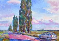 Пейзаж с полем, современная живопись