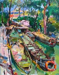 Рыбацкие лодки, современная картина маслом