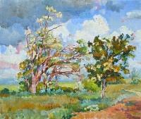 Весна в степи, картина маслом
