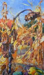 Подсолнух и кукуруза,купить  украинский пейзаж