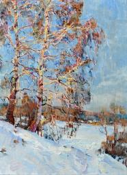 Березы зимой, украинский  пейзаж маслом