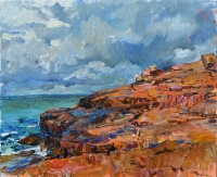 Картина маслом море и горы