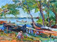 картина маслом лето на речке