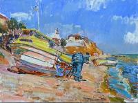 Маяк и лодки ,картина маслом