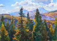Карпатские горы, живопись маслом на холсте